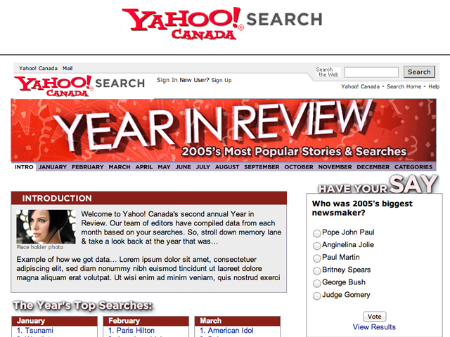 Yahoo! Canada – Year in Review